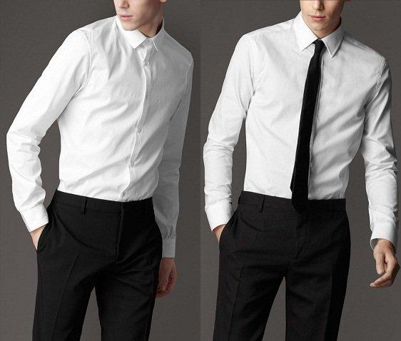 Come vestirsi a un funerale, per lui camicia burberry