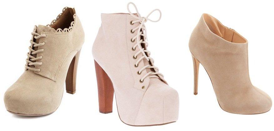 کفش و نیم بوت پاشنه بلند اسپرت دخترانه رنگ کرم و خاکی