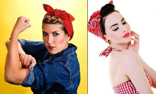Bandana stile Rosie the riveter: una icona del femminismo americano degli anni '40.