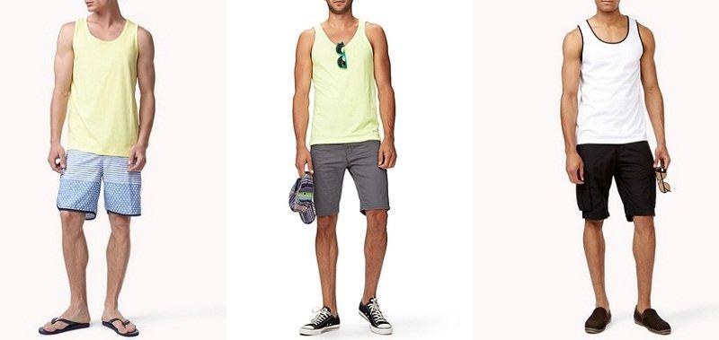 3 look uomo per il ferragosto al mare, montagna e in città bermuda e canotta outfit